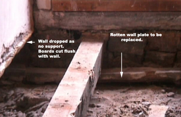 Rotten wall plate to be replaced