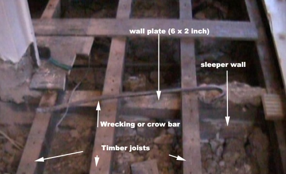 Image of wall plate with floor boards removed