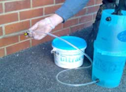 You can also use a hand pump to pump in your chemical Damp Proof Course
