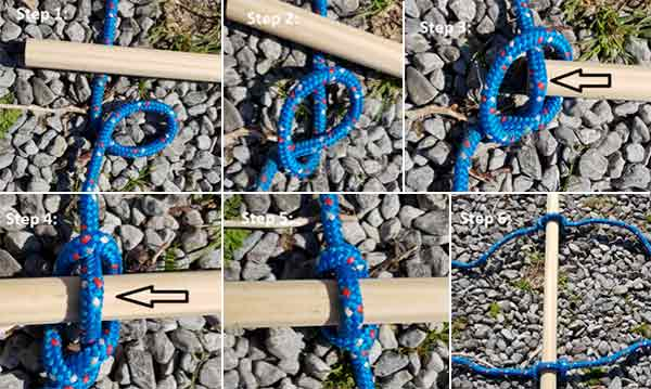 How to tie rungs onto a rope ladder