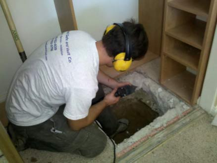 Digging hole for floor safe