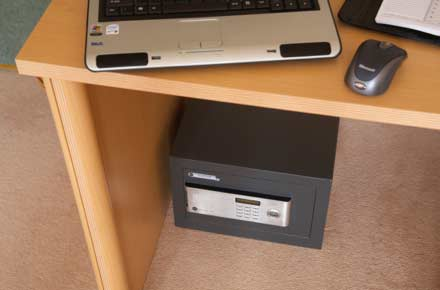 Safe installed under desk