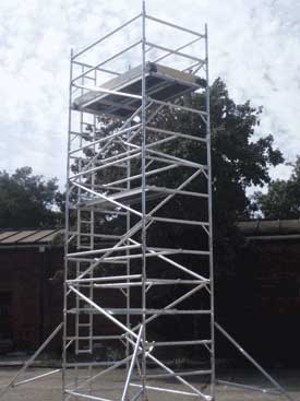 Scaffolding tower fully assembled