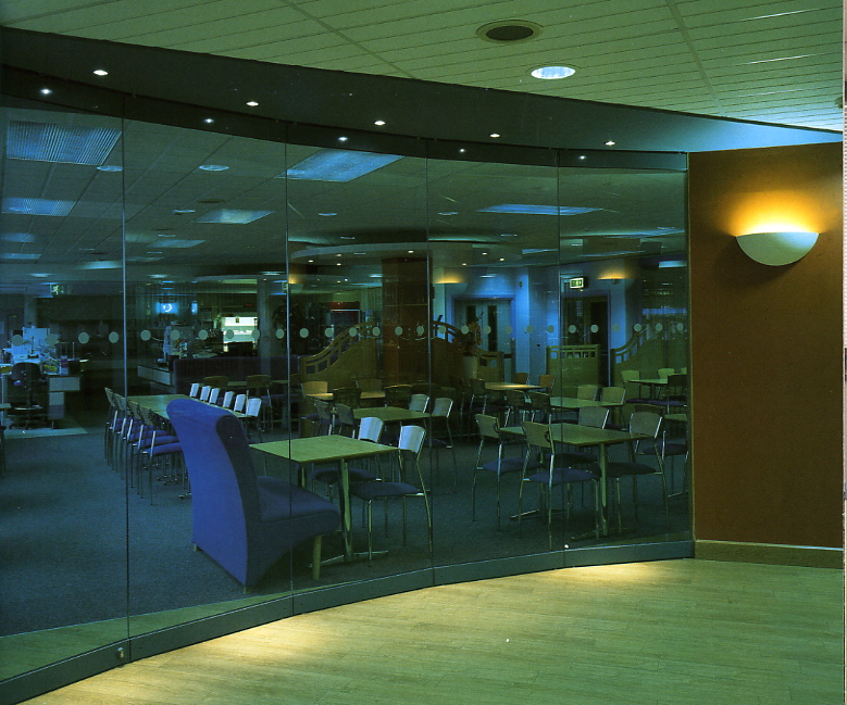 Contemporary glass partition screen