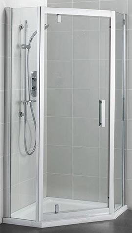 Offset style pentagonal shower enclosure