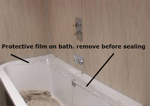 Protective film covering bath on delivery