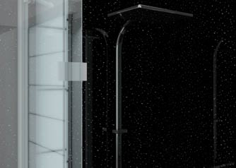Aquabord shower panel in sparkly black