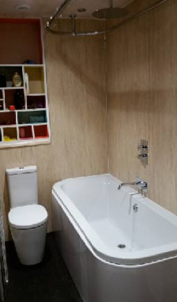 Finished bathroom with Aquabord shower panels