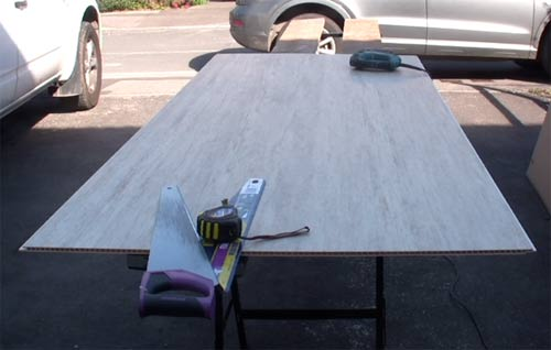 Table set up for cutting shower panels