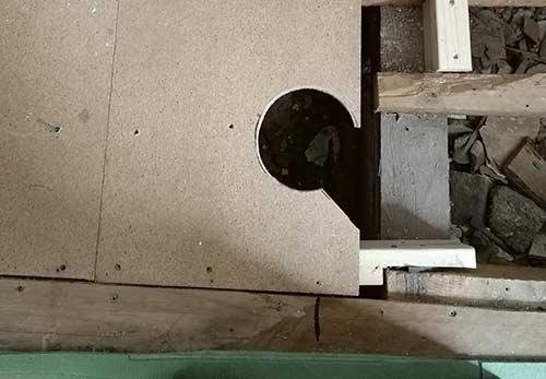 Shower tray waste hole cut in floor