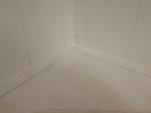 Grouting and sealed ceramic tiles above shower tray