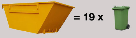 Capacity of a 6 cubic yard large skip