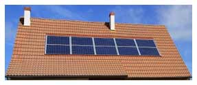 Solar panels installed onto roof of house