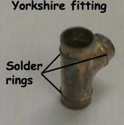 Copper Yorkshire fitting showing solder rings