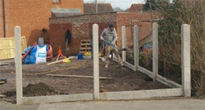 Installing concrete fence posts