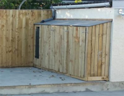 Lean-to shed for garden tools and out door toys