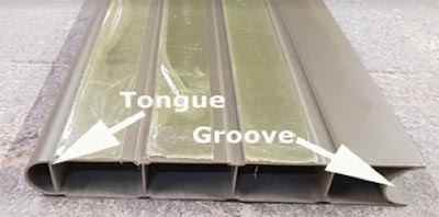 Tongue and groove sections of composite fence panel