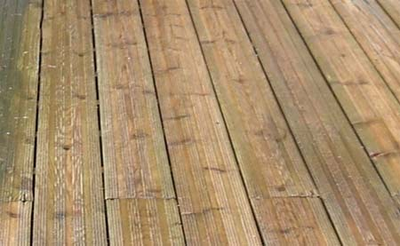 Dirty stained decking