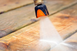Power washing decking planks