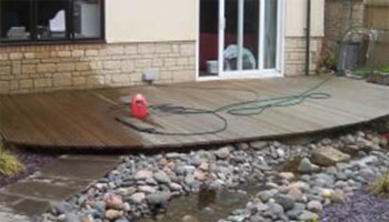 Power washing decking