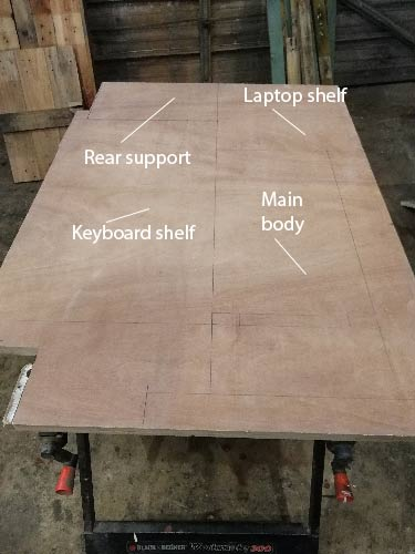 Cutting plan for standing desk