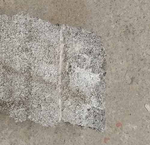 Scoring cutting line on concrete block