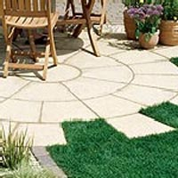 Patterned Paving created using paving slabs