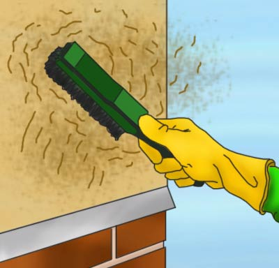 Brushing debris from wall