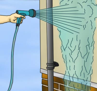 Cleaning wall down with hose