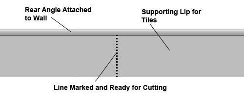 Line marked for creating right angle external corner