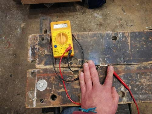 Ohm setting set on front of multimeter