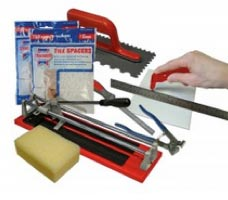 A wall and floor tiling tool set