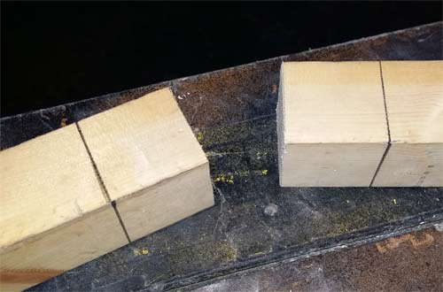 Marks on timber for shoulder of mortise and tenon