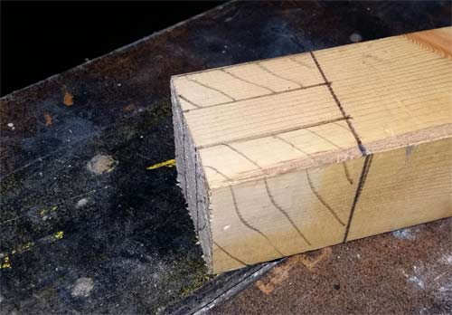 Tenon joint cuts marked on timber