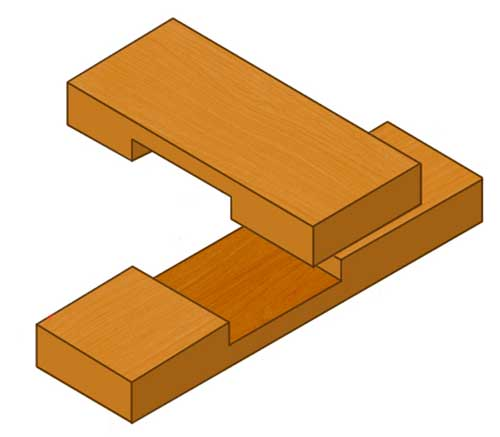 Cross halving joint using thin timber sections