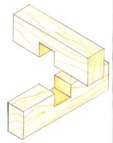 Cross halving joint cut into think timber sections