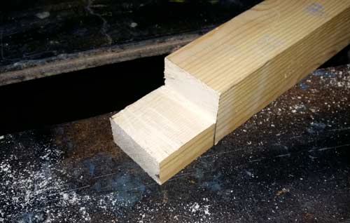 Two lines cut and waste section removed for halving joint