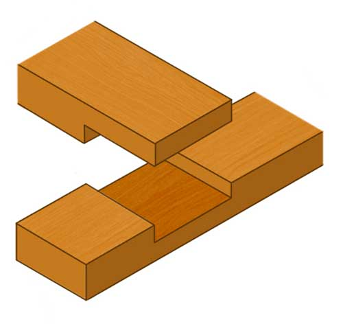 T-piece cross halving joint