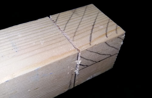 Top line cut for halving joint