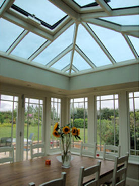 Modern style timber conservatory interior