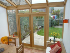 Smaller modern timber conservatory interior
