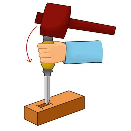 Tapping chisel with mallet to remove waste timber