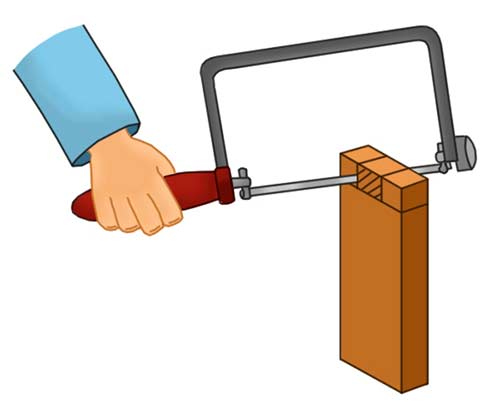 Cutting out waste section using a coping saw
