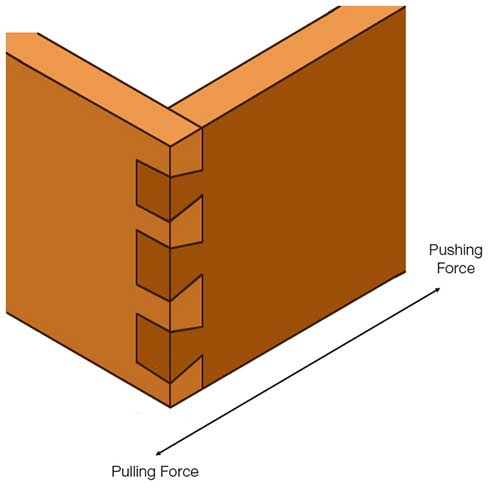 Tails and pins of dovetail help to resist forces