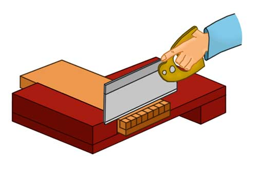 Cutting timber using a bench hook