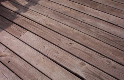 Weathered Decking finished with Linseed Oil