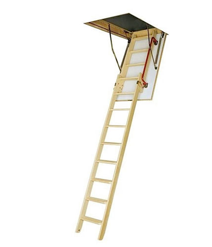 Timber loft ladder and integrated hatch