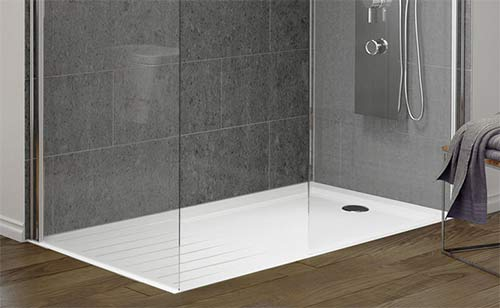 Flush walk in shower tray
