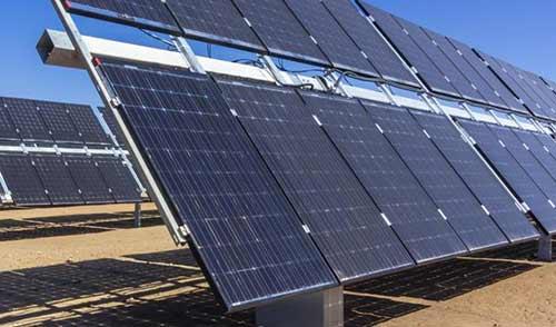 Bifacial solar panel array