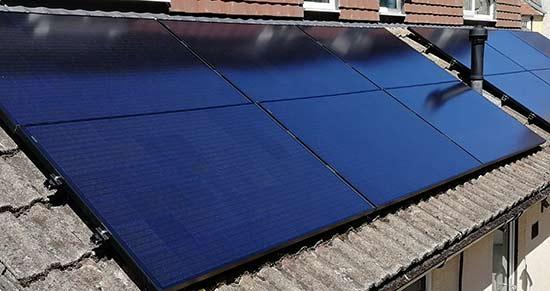 Monocrystalline solar panel install on roof of property